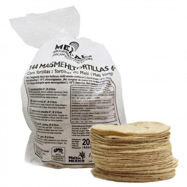 "CORNTORTILLAS 6"" YELLOW, Ø ca15cm, 15g, 144 pieces bag"