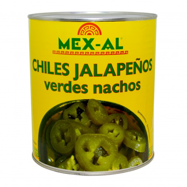 CHILES JALAPEÑOS NACHOS, grüne Scheiben, 2,75kg Dose
