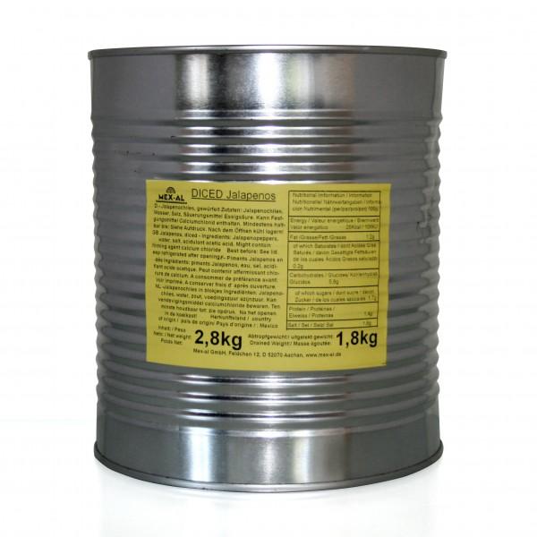 JALAPEÑOS DICED, grün gewürfelt, 2,8kg Dose