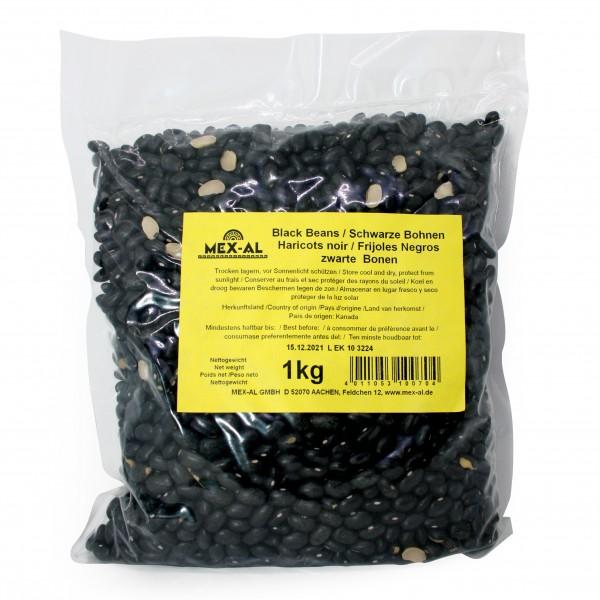 BLACK (TURTLE) BEANS schwarze Bohnen, trocken 1kg Beutel
