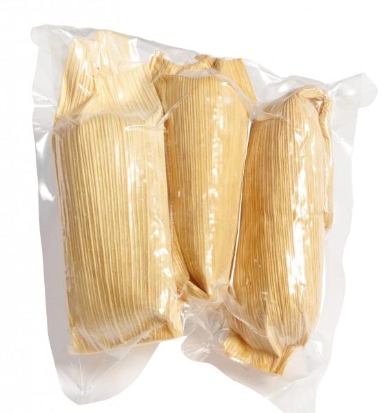 TAMALES POLLO PICO, Maisteig mit pikanter Hähnchenfüllung 50 Stück x 60g Karton
