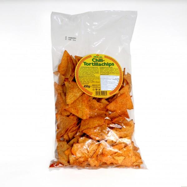 CHILI TORTILLACHIPS MEX-AL, gelbe dreieckige Maischips mit Chili, 450g Beutel