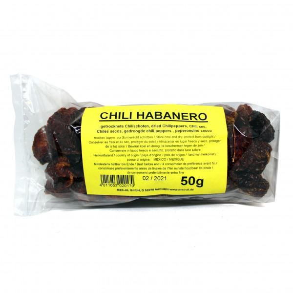 CHILES HABANERO GANZ, trocken, 50g Beutel