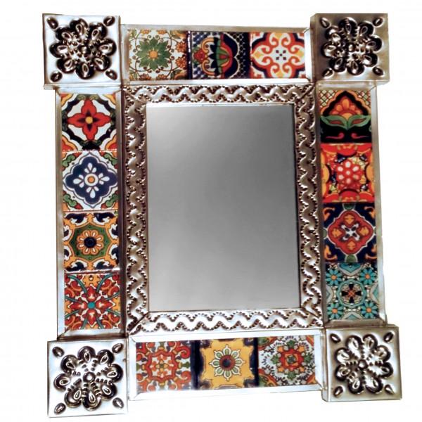 Spiegel mit Kachelrahmen, ca 32 x 28 cm