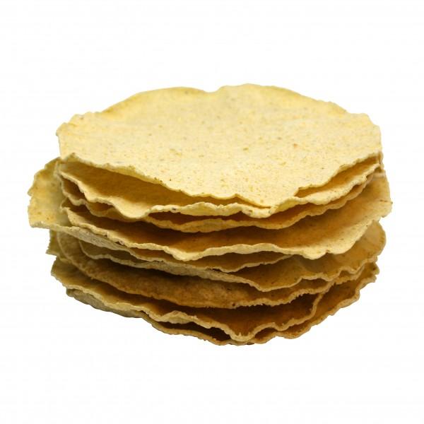 TOSTADAS, tortillas de maïs cuit au four, Ø 14cm, 11g, 10 pièces por carton=110g
