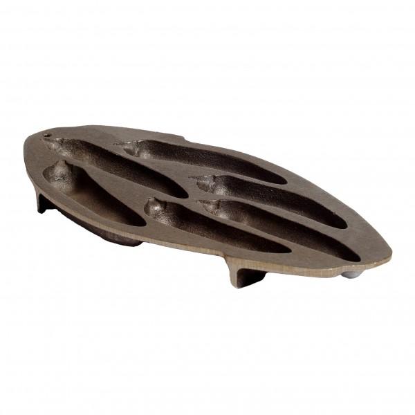 6 CHILI PAN aus Gusseisen 40x20x3cm um 6 halbe Chiliformen zu backen