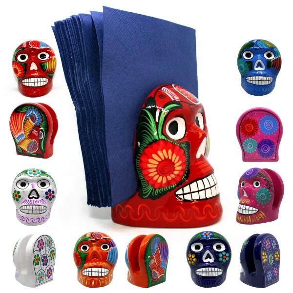 SERVIETTENHALTER aus Ton in Totenkopfform, diverse Farben ca 10x10x13cm