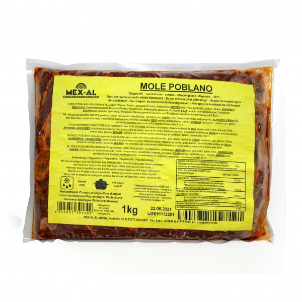MOLE POBLANO MEX-AL Schokoladenchiliwürzpaste 1kg Beutel, tiefgefroren