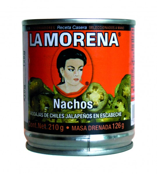 CHILES JALAPEÑOS NACHOS Jalapeños verdes en rodajas, lata de 210g
