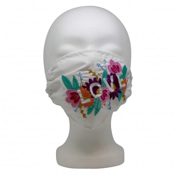 Mund- und Nasenmaske aus Baumwolle bestickt, diverse Farben und Motive