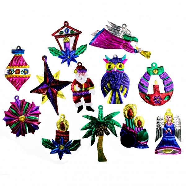 Weihnachts Blechanhänger, 12 Stück, Christbaumschmuck, diverse Formen und Farben